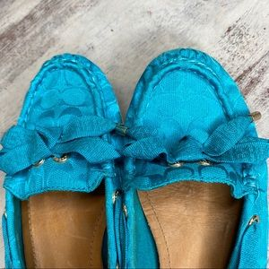 Coach Shoes - Coach Teal Ribbon Carisa Loafers Boat Shoes 7.5